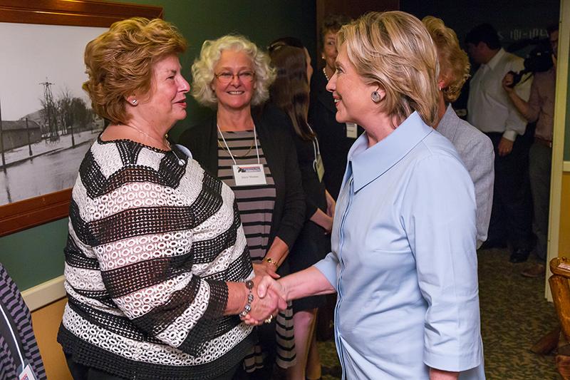 Founding member Martha Richards and Hillary Clinton