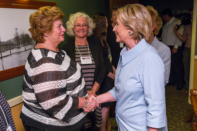 Founding member Martha Richards and Hillary Clinton